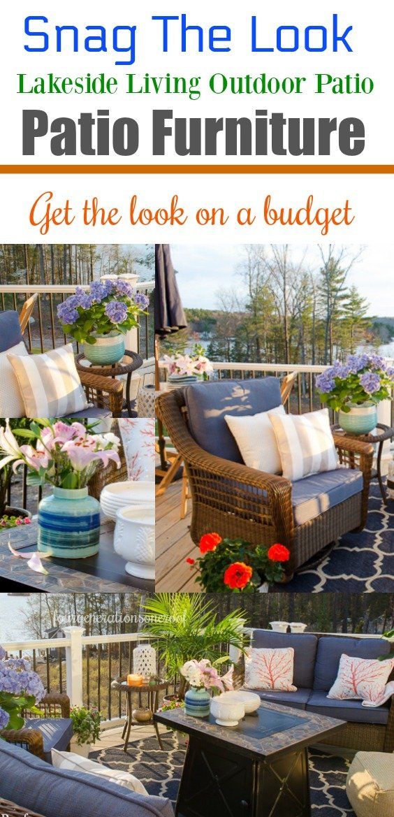 Snag Outdoor Patio Furniture for Under 0 {LakeSide Deck Reveal} How to create a cozy patio or deck space with affordable wicker furniture, lots of ceramic planters and a gorgeous firepit for ambiance. #patiofurniture #patio #deckfurniture #wickerfurniture #outdoors #outdoorfurniture #curbappeal #lakeliving #decor #decorating #exterior #outdoorseating