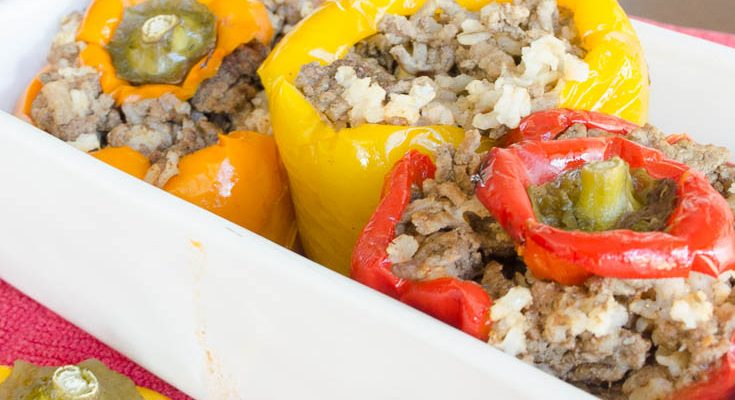 Fast Low Carb Stuffed Peppers with Brown Rice