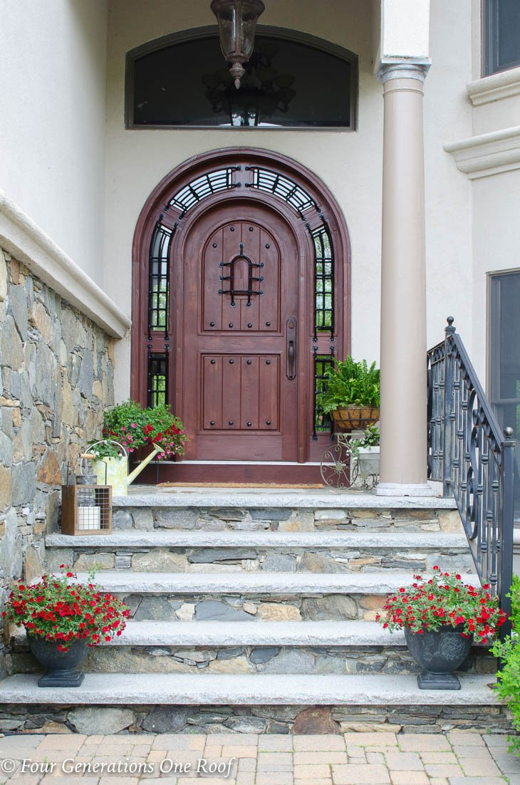 Stained Arched Front Door Summer Decorating Tips {Varathane Cognac Wood STain}
