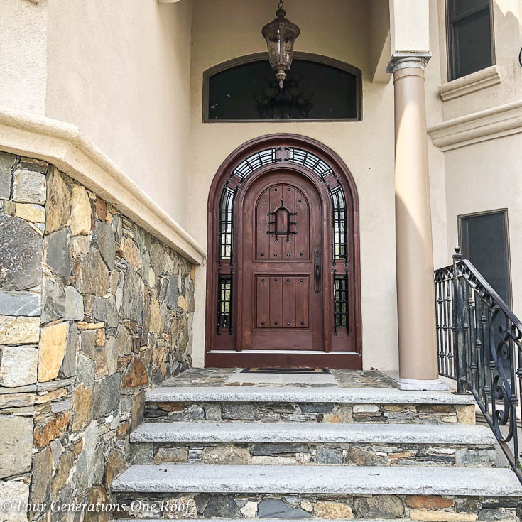 Mediterranean Style Front Doors: Stained Arched Front Door Summer Decorating Tips {our