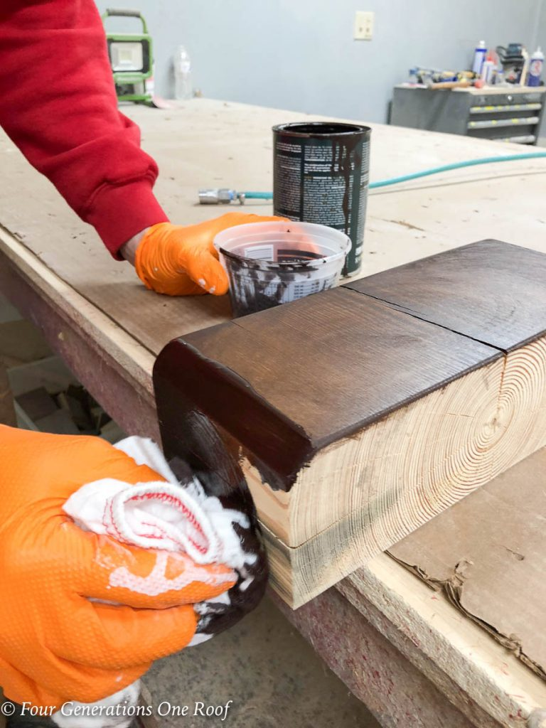Staining a Yellow Southern Pine Wooden Beam {New Fireplace Update}