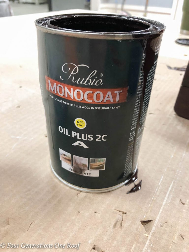 Monocoat Rubio Chocolate Stain Oil Plus 2C | How to stain a wood beam mantel