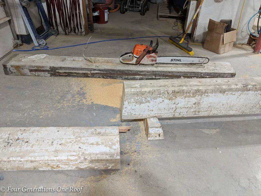 Southern Pine wood beam over 100 years old painted white