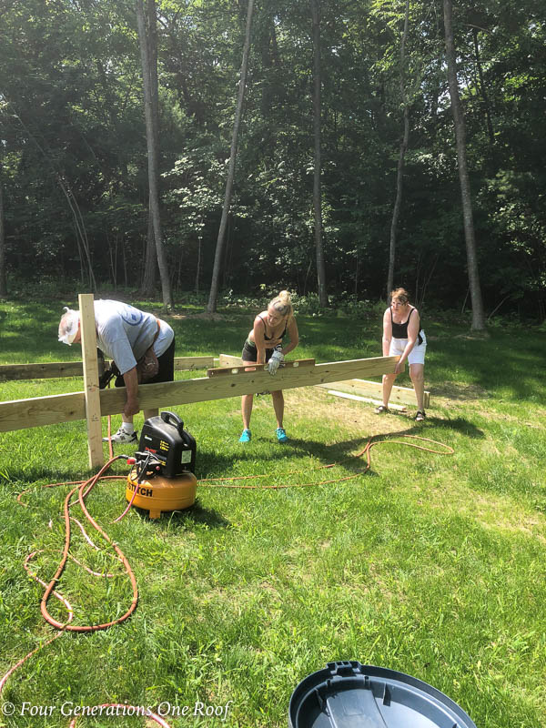 Pressure Treated Wood Frame for the Foundation around a pool pump