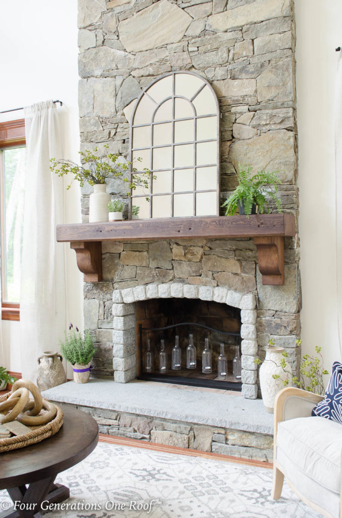 How to install a wood beam mantel with rebar | chocolate stained pine beam