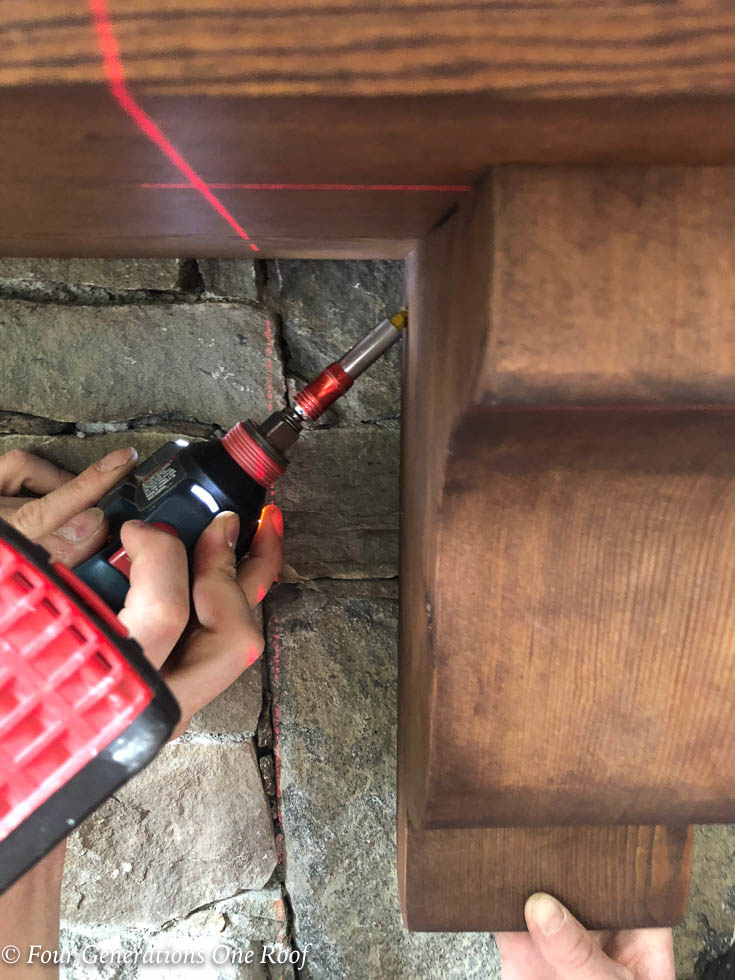 """How to Install a wood mantel and corbels with 3"""" wood screws and rebar rod"""