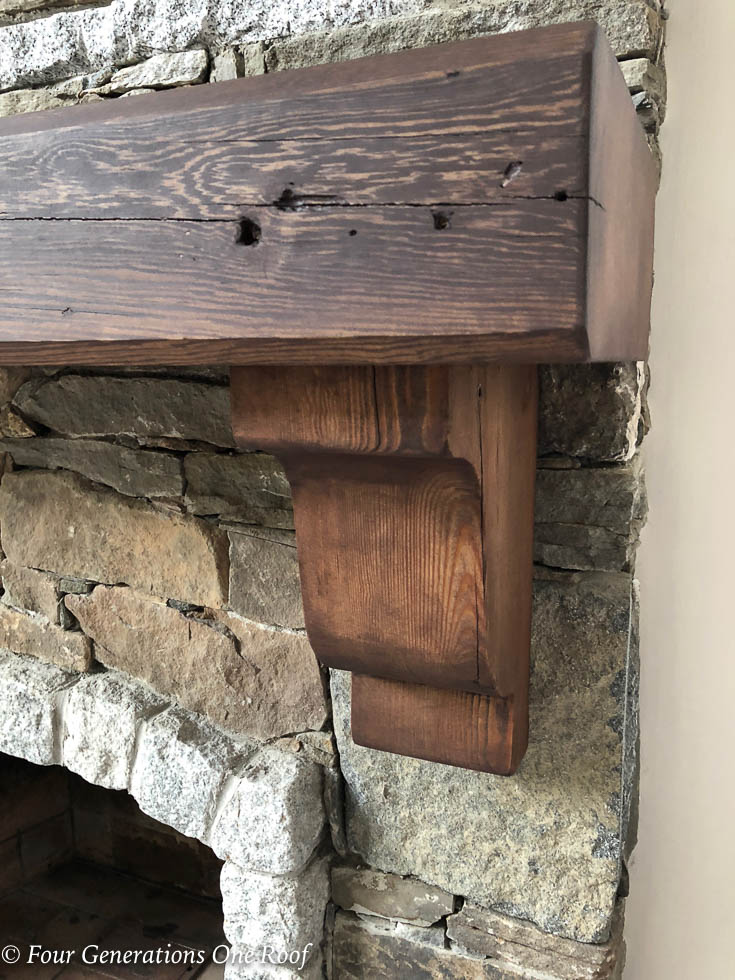 """How to Install a wood mantel and corbels with 3"""" wood screws and rebar rod . Fill screw holes with wood crayon"""