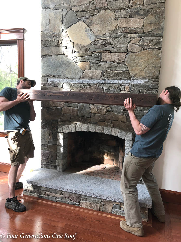 How To Install A Wooden Beam Mantel With Rebar Steel Rod On Stone