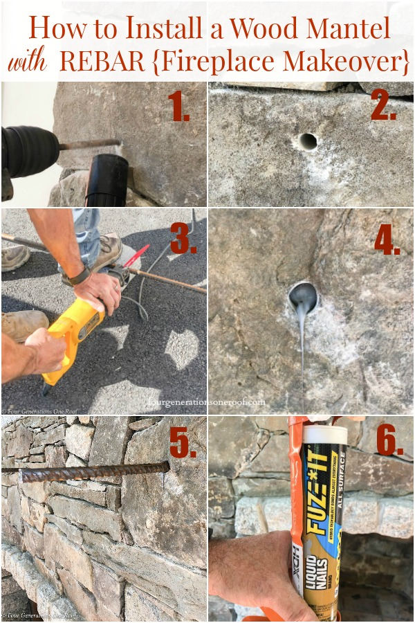 how to install a wood mantel with rebar