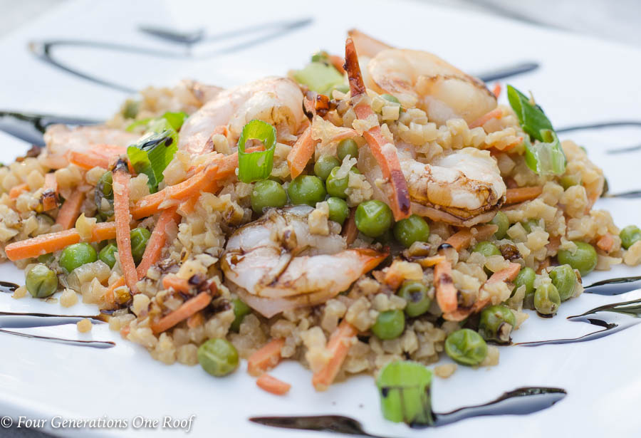 Under 400 Calories Shrimp and Cauliflower fried rice dish | 20 minute meal idea Stove Top