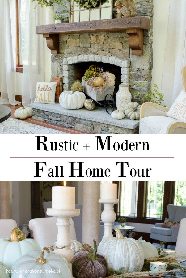 Simple Rustic Modern Fall Decor {Our Mediterranean Home Fall Tour} Neutral colored pumpkins, greenery, fall pillows and dried flowers #falldecor #rustic #modern #rusticmodern #livingroom #kitchen #diningroom #openconcepthome