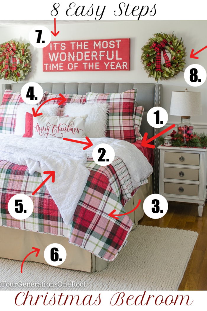 8 Steps - How to decorate your Christmas bedroom   Plaid Christmas Bedroom   #christmasbedroom #christmasbedroomdecor #christmasbedroomdecorations #christmasbedding #plaidchristmasbedding #plaidchristmas