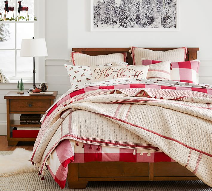 red buffalo check duvet sham tan and red piping quilt how to decorate your bedroom