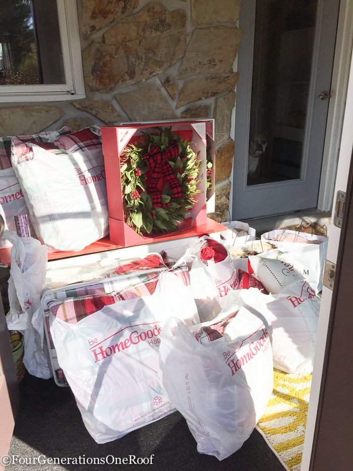 Shopping for Christmas plaid bedding, wreaths and wall art