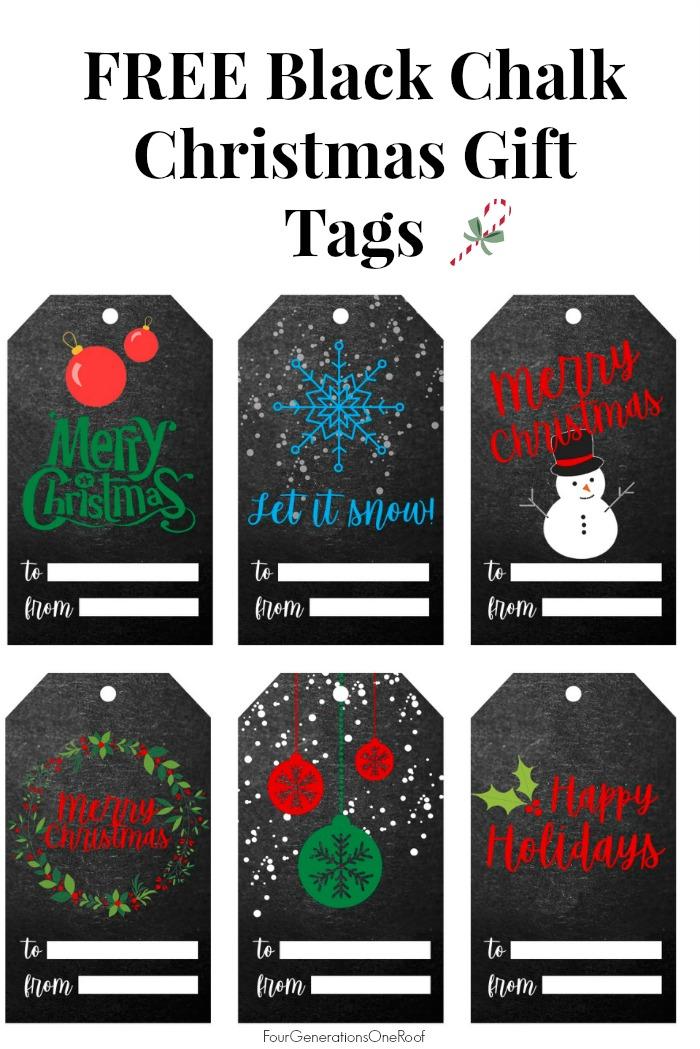 Black Chalk Christmas Gift TAgs
