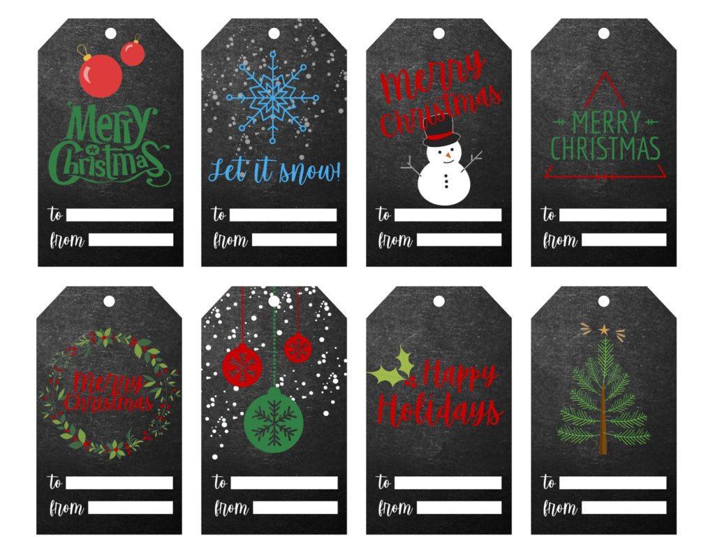Black Chalk Christmas Gift Tag Printable