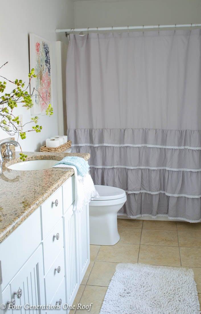 Narrow Bathroom Renovation, Kohler Continuous Clean Toilet, Gray Shower Curtain