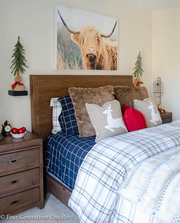Nature Inspired Brown Plaid Christmas bedroom | Scottish Highland Art Work