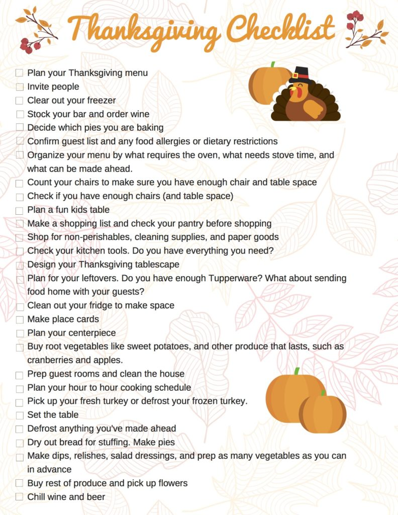 Thanksgiving Checklist Printable