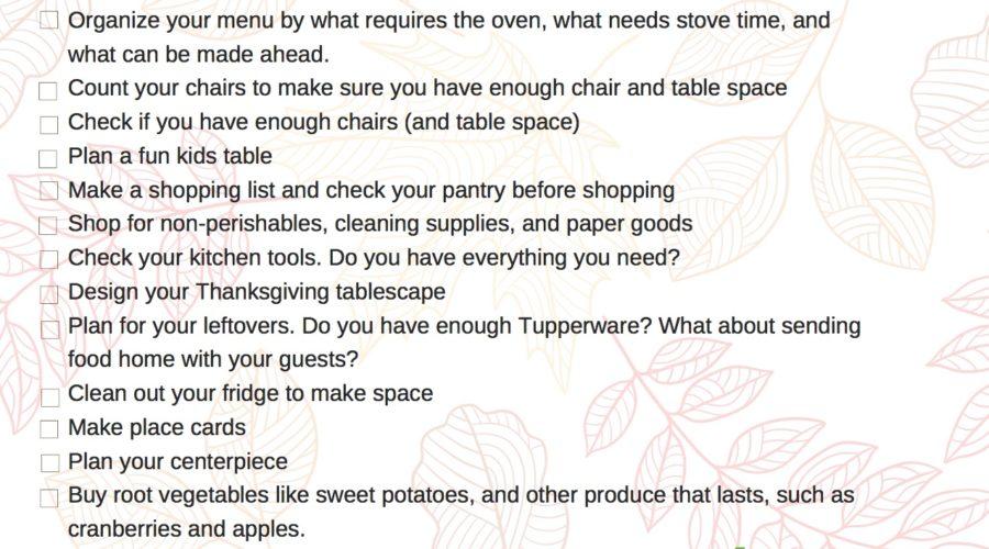 Thanksgiving Checklist Printable