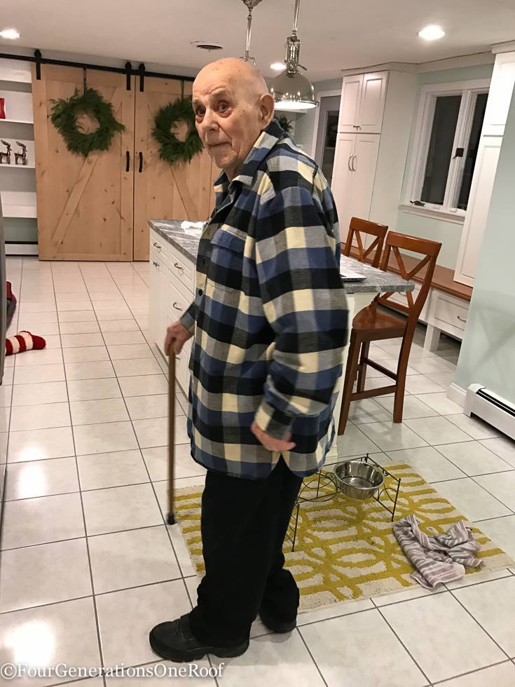 grandfather with cane in kitchen   Multigenerational Home