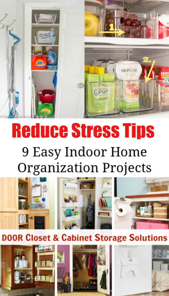 My 9 Indoor Home Organization Projects to reduce stress   bathroom organization, kitchen organization, drawer organization