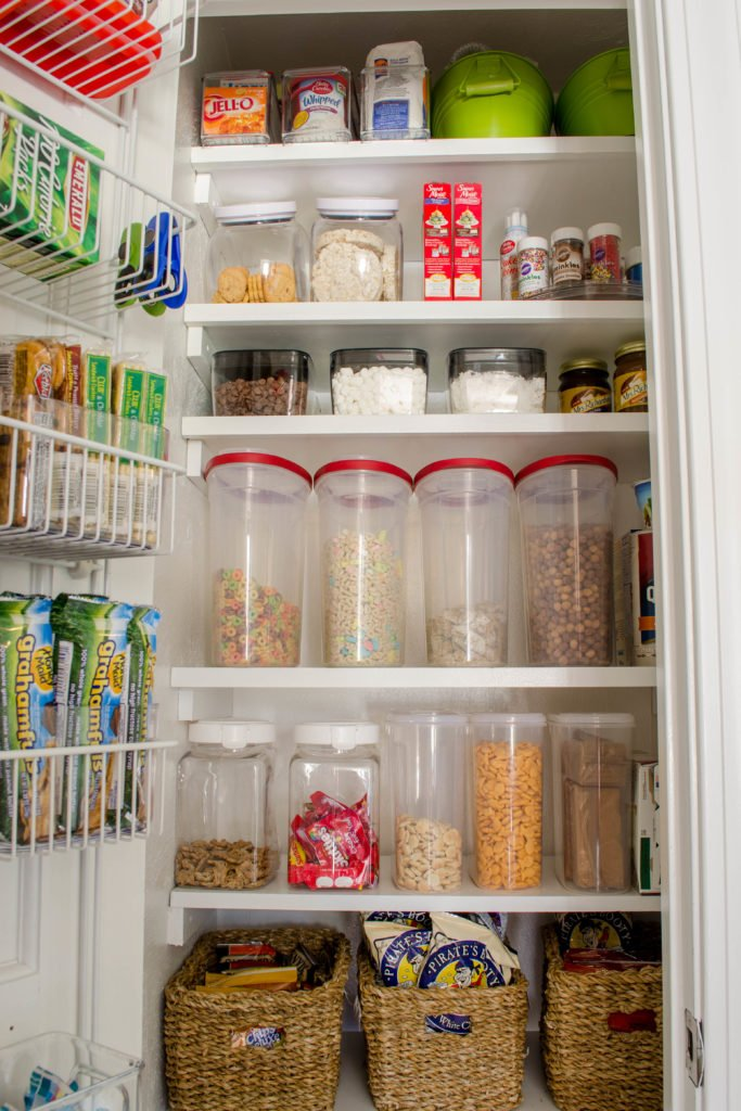 Small Kitchen Closet Pantry with Shelves and Food Storage Bins for Cereal, Snacks, baking items   Coat Closet turned Kitchen food pantry