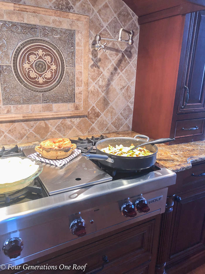 Stovetop Mom's weekend light Chicken Pot Pie Crock Recipe with Potato, Crust Chicken, Carrots and Celery
