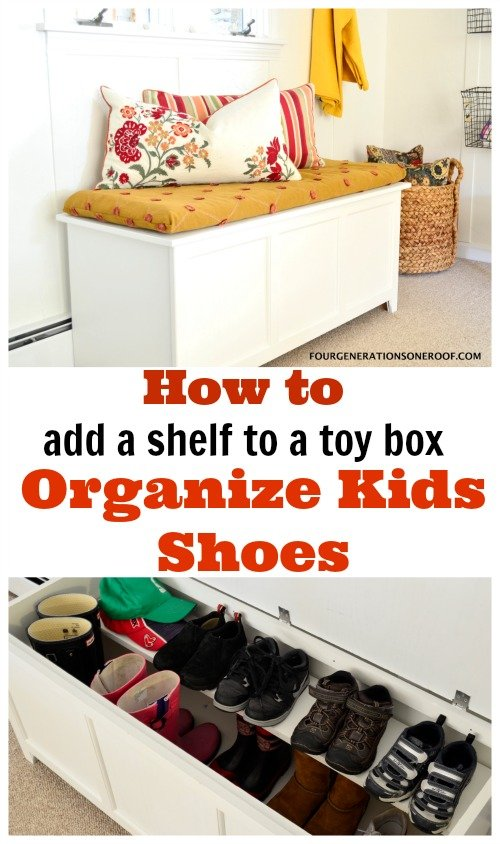 Shoes stored in a wooden toy box with DIY wood shelf  