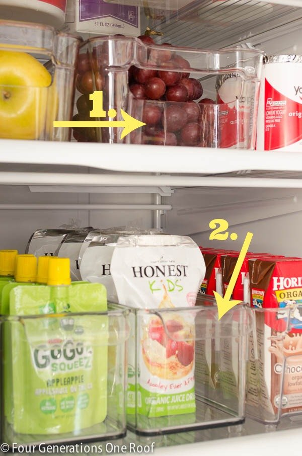 Plastic Refrigerator Storage containers for juice boxes, fruit, yogurt, deli meats, soda   Refrigerator Storage Ideas  