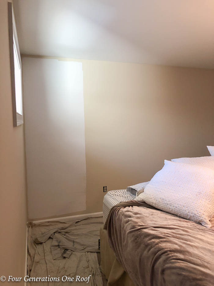 tan walls vs white walls bedroom makeover with white paint