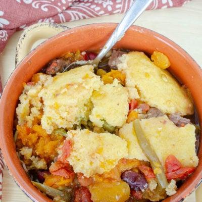 Easy Sweet Potato Beef Stew with dumplings {crockpot}
