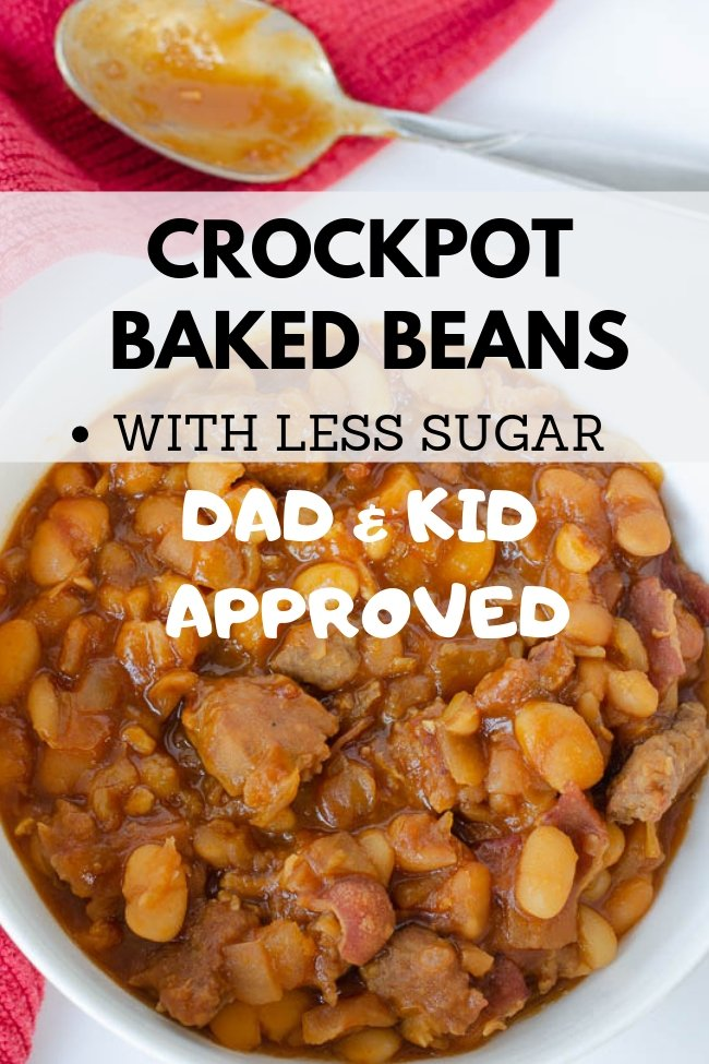 crockpot baked beans with sausage dad and kid approved
