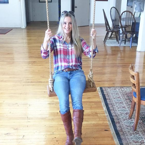 Jessica Bruno Four Generations One Roof inside swing with wood seat and rope