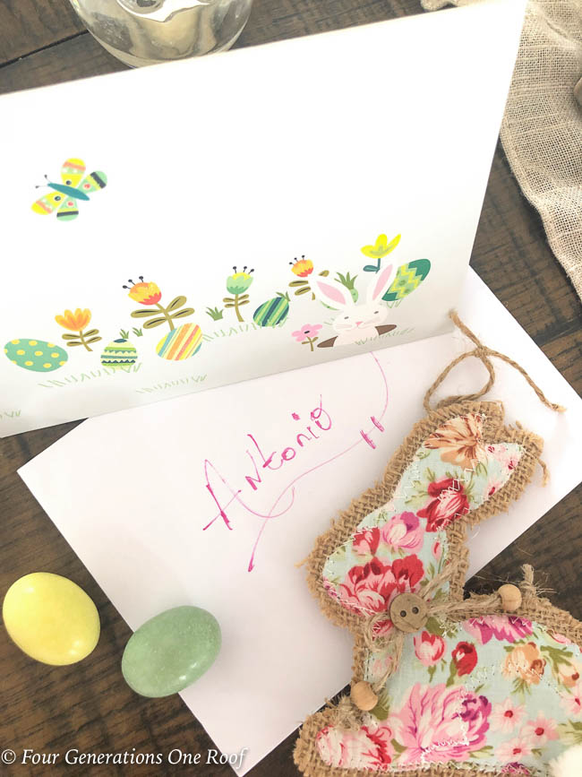 flower Easter bunny ornament with burlap and pop up Easter card and candy eggs