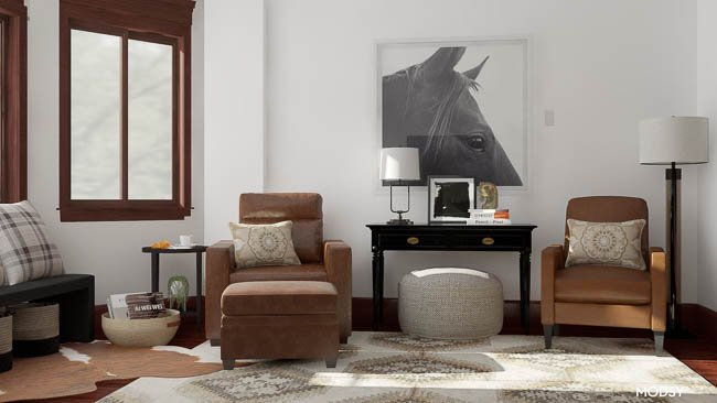 leather chairs, equestrian wall art, ralph lauren decor, dark wood media console