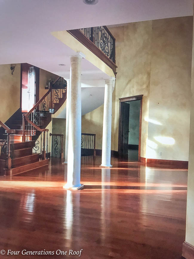faux finish Italian style walls, dining room, foyer, mediterranean home -5