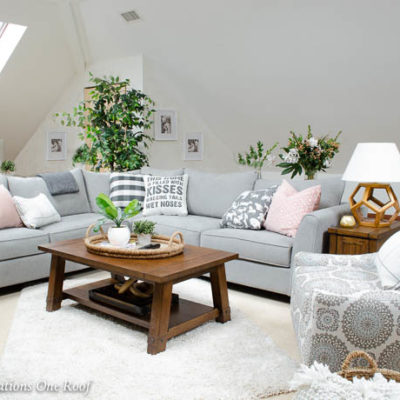 My Lady Loft Living Room with sloped ceiling