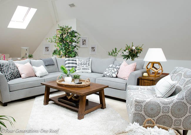 Lady Loft Attic Living Room Grey Sectional rustic barn media console brown coffee table shag rug, closet