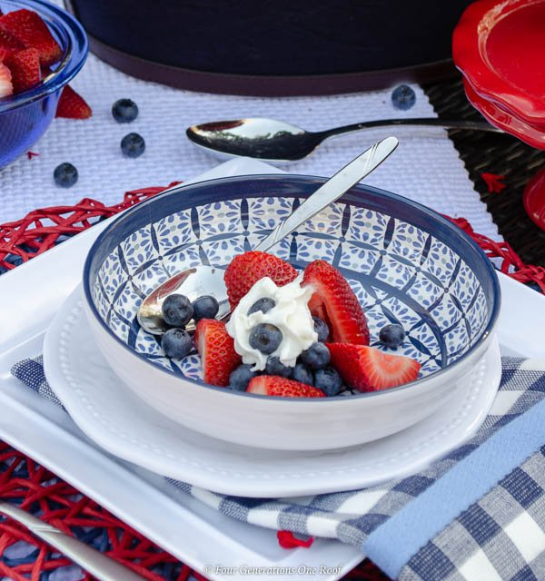 patriotic outdoor table on law, red white and blue table setting with strawberries and blueberries and spoon