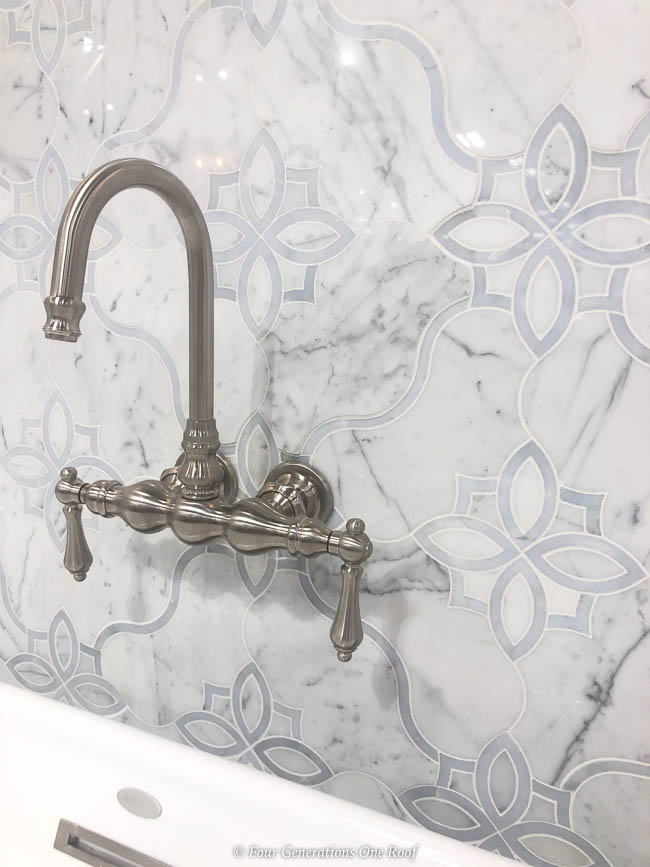 white quartzite wall tile with satin nickel bathroom faucet for soaking tub tile and flooring shopping tips