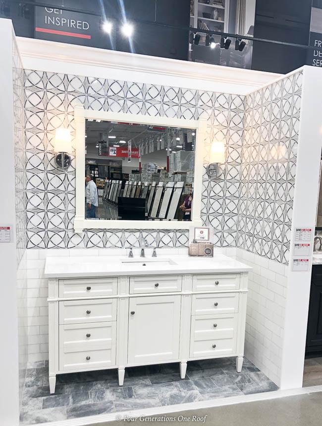 white bathroom vanity, white quartzite, tiled wall tile and flooring shopping tips