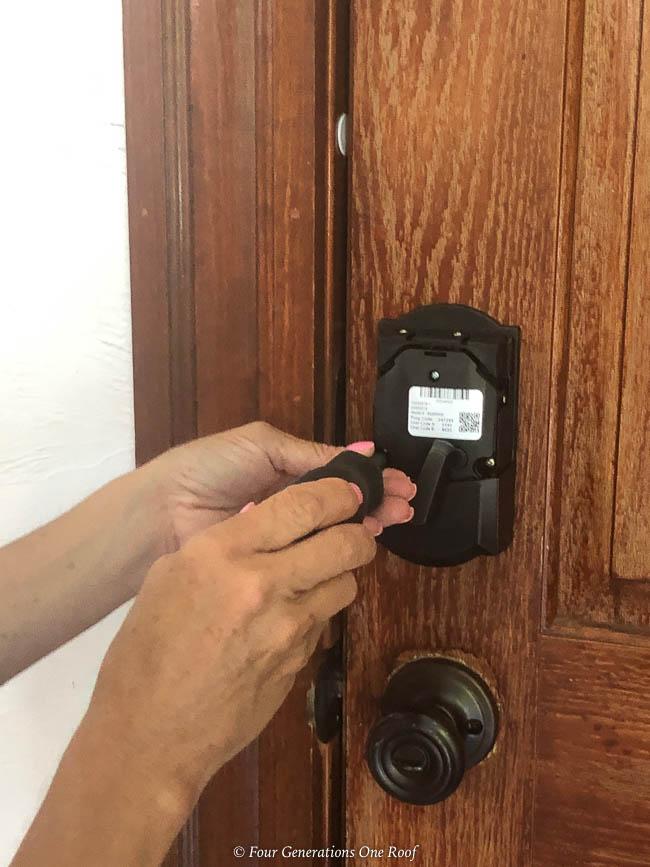 Schlage Encode Smart Wifi deadbolt Side Entrance Garage Door Makeover with Schlage