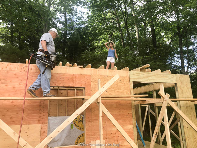 diy walk in chicken coop chicken mansion, framing the foundation, framing the walls, framing the hip roof