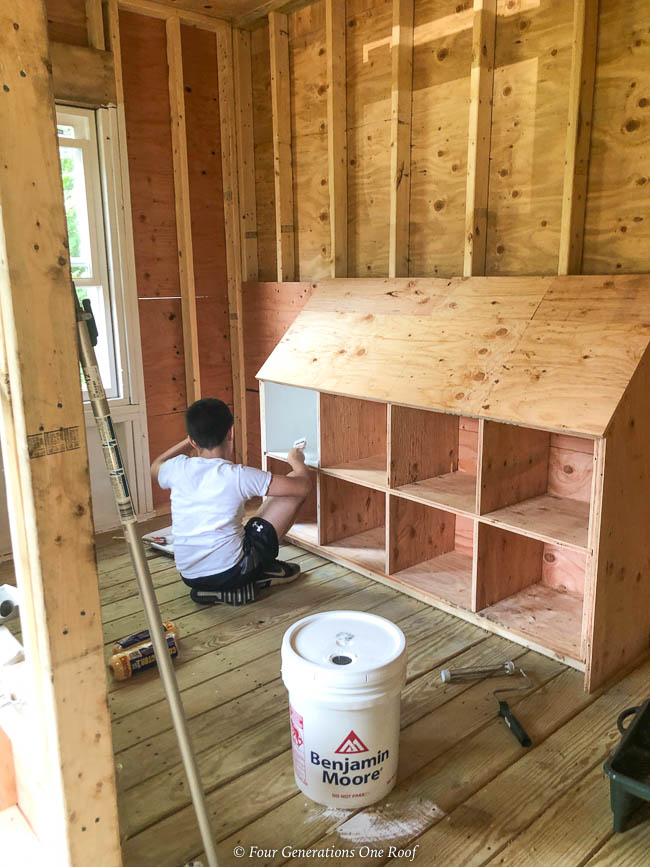 walk in chicken coop, partition wall, painting nesting boxes