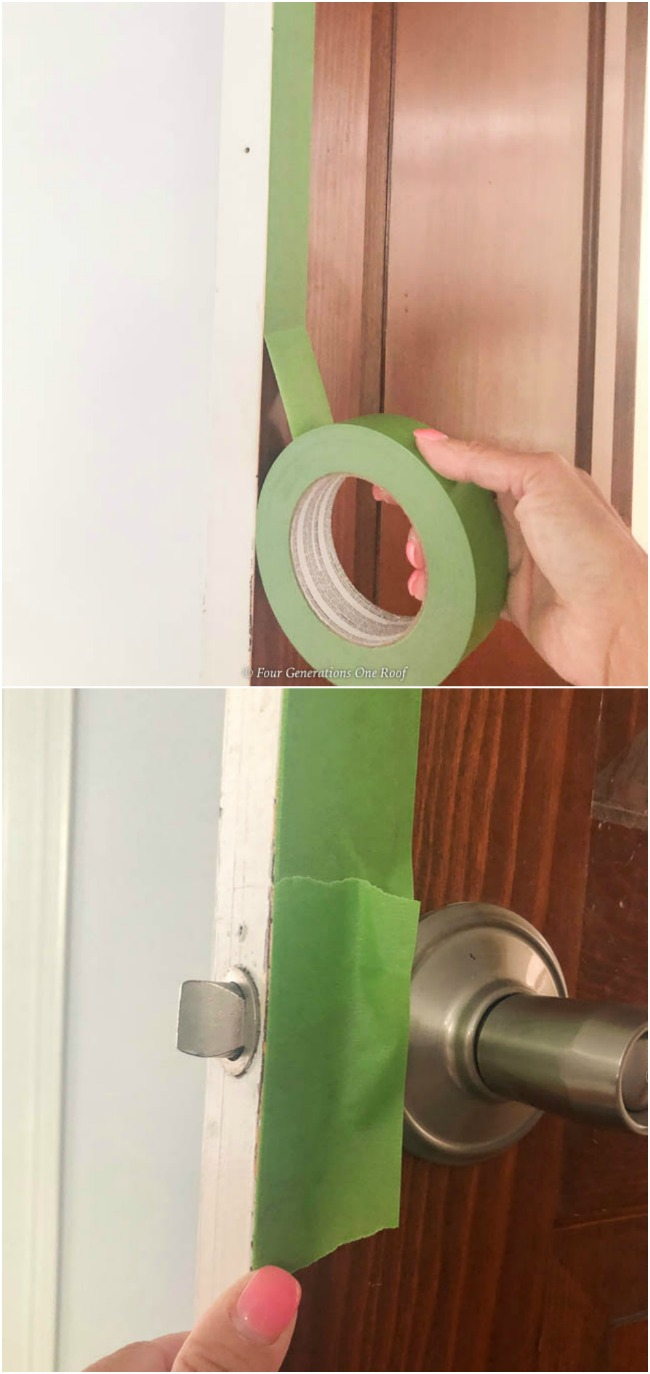 green Frogtape on stained door with painters tape around door handle, How to paint crisp clean paint lines