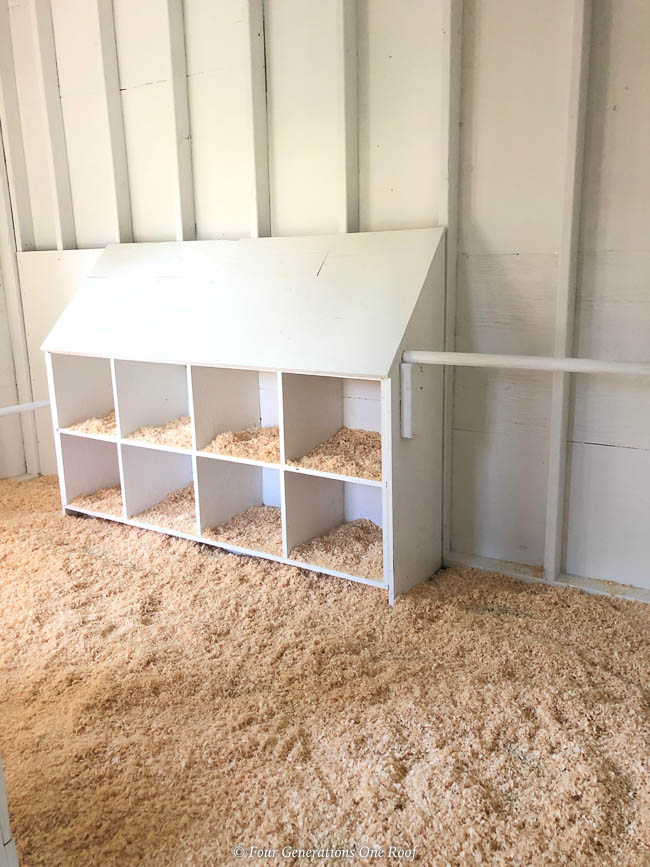 Chicken Coop White Interior with Nesting Boxes, rubber floor mats, shavings,