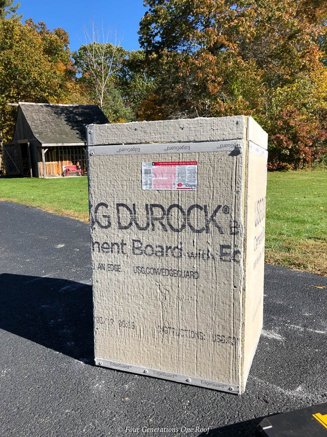 framed driveway entrance column with Durlock cement board