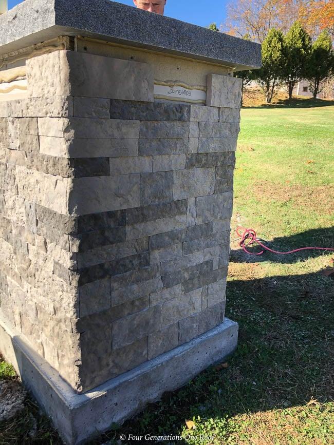 Driveway entrance column Loctite PL Premium Construction Adhesive, Airstone Spring Creek Stone