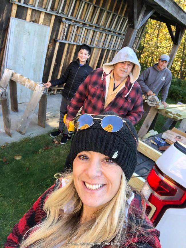 Jessica Bruno Airstone driveway column tutorial with dad, son and boyfriend